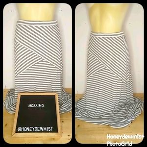 MOSSIMO Grey and White Striped Stretchy Maxi Skirt
